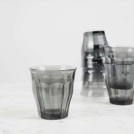 Picardie retro üvegpohár, szürke