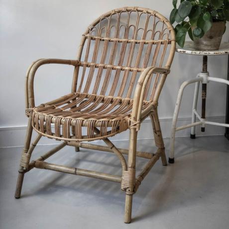 régi pálcás rattan fotel