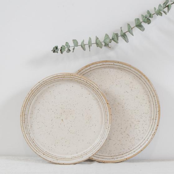 Kerámia lapos tányér, fehér