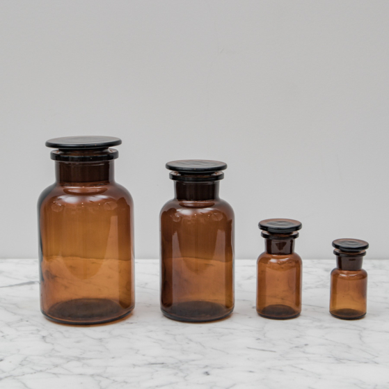 Tároló üveg, barna