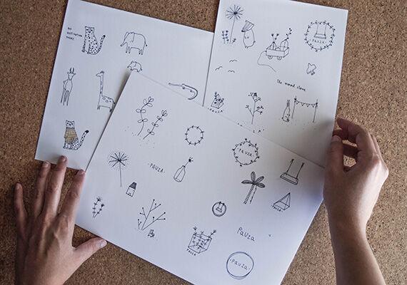 Kézzel készült illusztrációs rajzok.